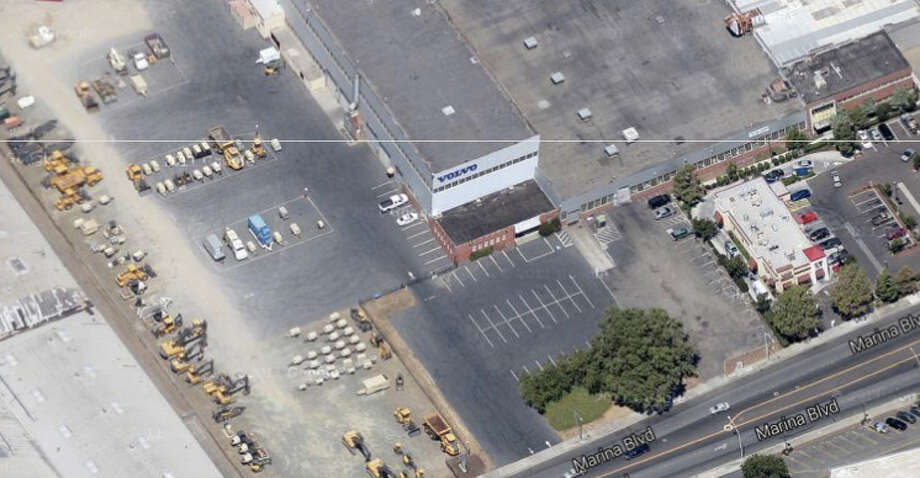 An aerial view from Google Maps of the Volvo Construction Equipment and Services building at 1944 Marina Blvd. in San Leandro, CA Photo: Google Maps
