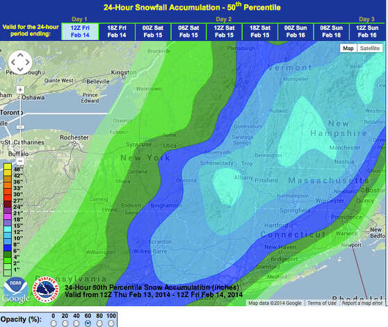 The National Weather Service's latest snow predictions for eastern upstate New York. (National Weather Service Albany)