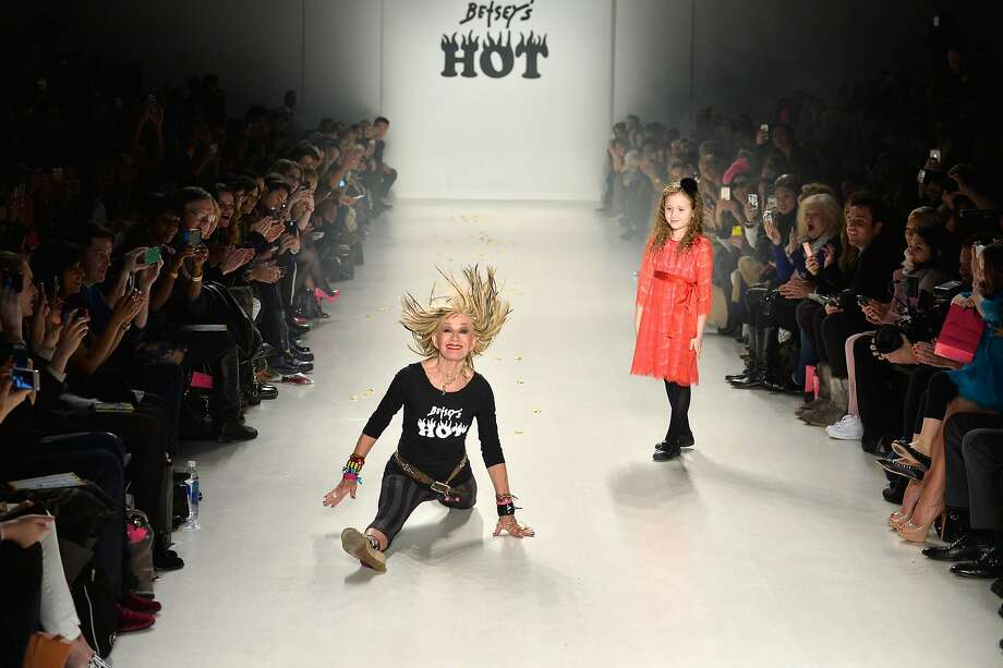 Do you need the walker, Grandma? Designer Betsey Johnson hits the runway with her granddaughter during the Betsey Johnson fashion show at Mercedes-Benz Fashion Week in New York. Photo: Frazer Harrison, Getty Images For Mercedes-Benz F
