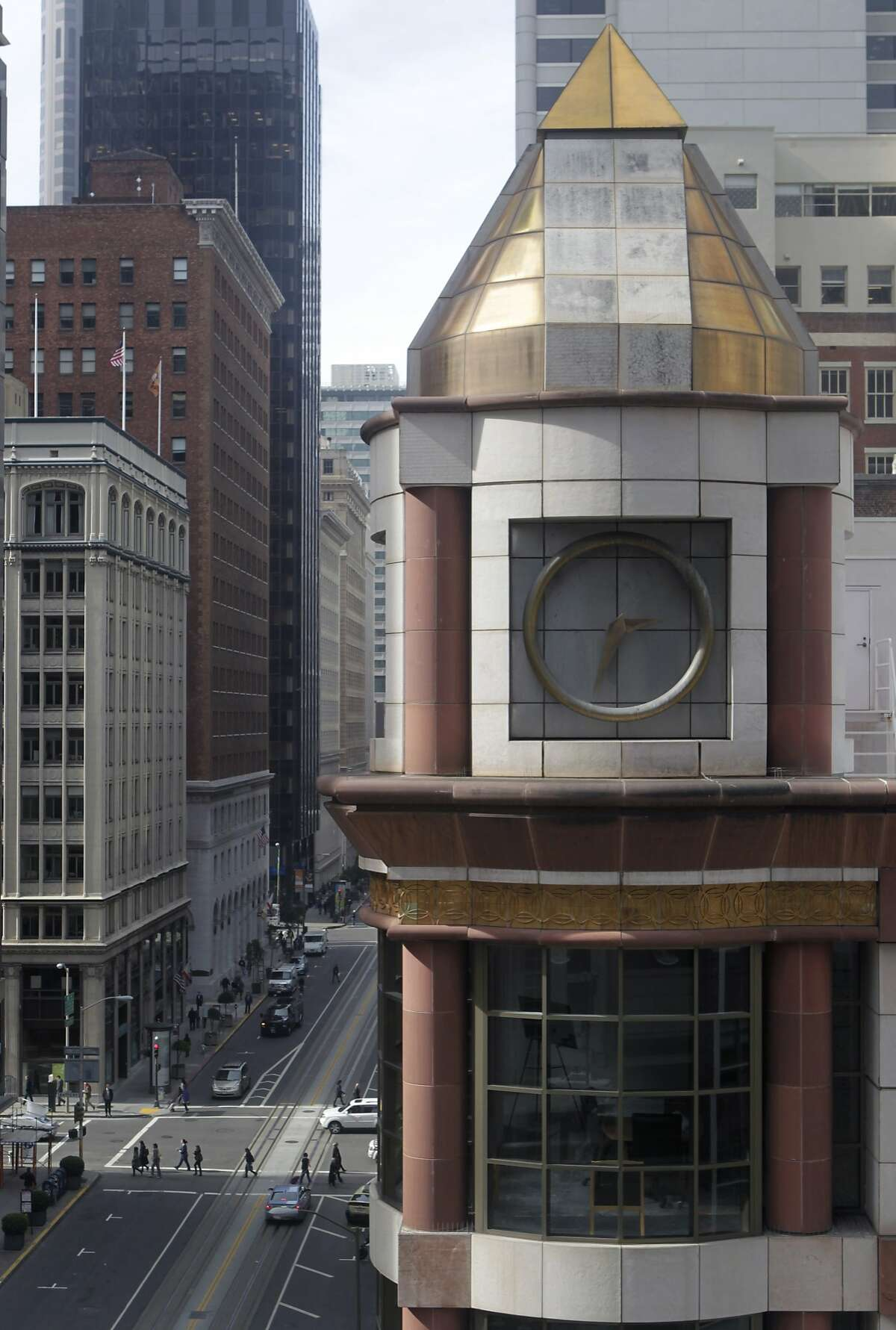 A clock tower is seen on the 200 California Street office building in San Francisco, Calif. on Wednesday, Feb. 12, 2014. Building owners have received approval to lop off the clock tower and remove gold-leaf trim from the top of the structure.