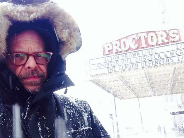 "Alton Brown tweeted a photo of himself in front of Proctors Theater in Schenectady a few hours before his scheduled 8 p.m. show. His message, ""Come on Schenectady, don't let me down."""