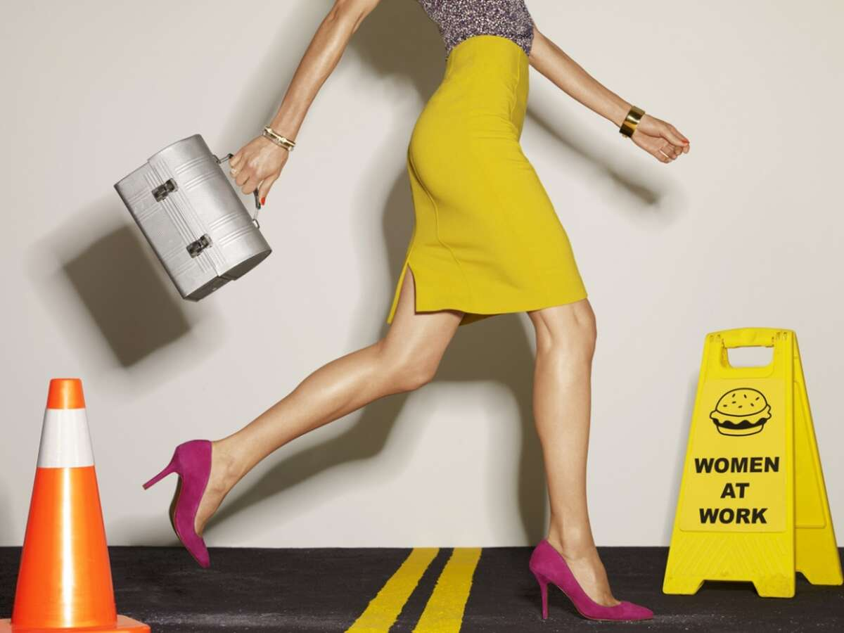 Feminism is ... wearing high heels and a short skirt to a construction site where apparently hamburgers are being made.