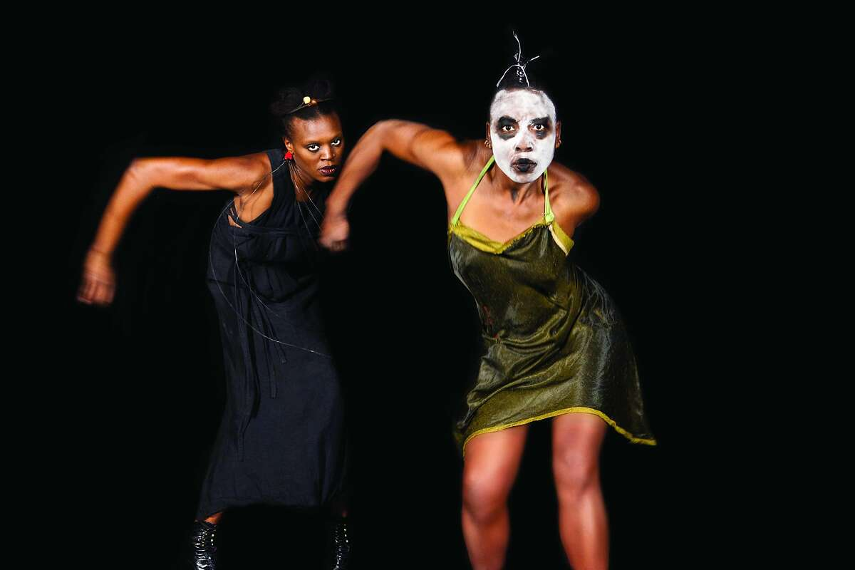 """CAPTION: (left to right): Okwui Okpokwasili and Nora Chipaumire perform in Chipaumitre's """"Miriam,' at the Yerba Buena Center for the Arts Feb. 13-15, an entry in the Black Choreographers Festival. Photo by Antoine Tempe"""