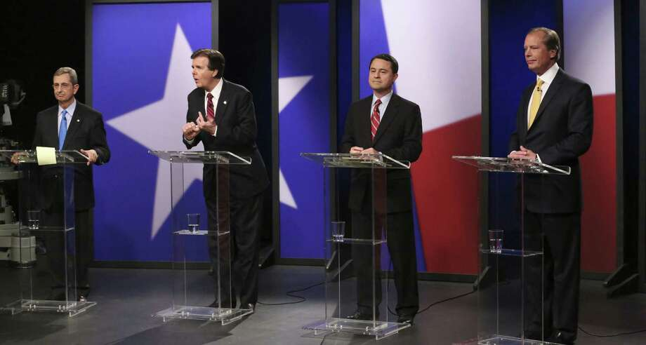 Texas GOP hopefuls for the office of lieutenant governor (from left) Land Commissioner Jerry Patterson, state Sen. Dan Patrick, Agricultural Commissioner Todd Staples and Lt. Gov. David Dewhurst debate in late January. All seem interested in enforcing federal immigration law. Photo: LM Otero / Pool Photo Via Associated Press / Pool AP