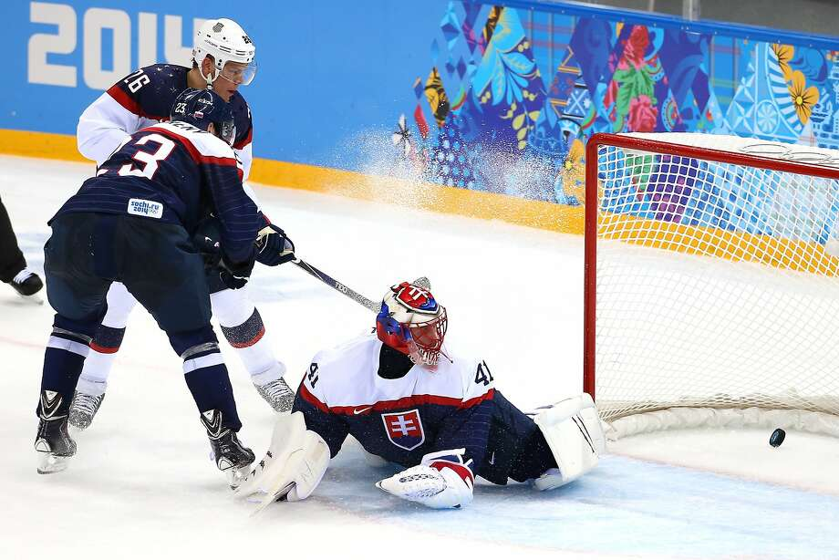 Paul Stastny of the United States scores past Jaroslav Halak of Slovakia in a second period in which the U.S. scored six times in a 7-1 victory. The American team will next face host Russia on Saturday. Photo: Streeter Lecka, Getty Images
