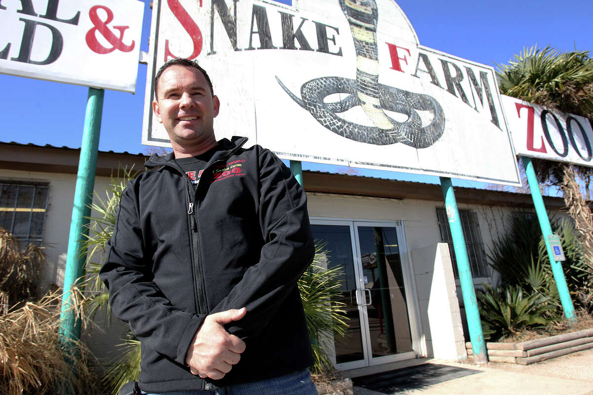 Snake Farm owner Eric Trager shows his facility in New Braunfels on Feb. 13, 2014.