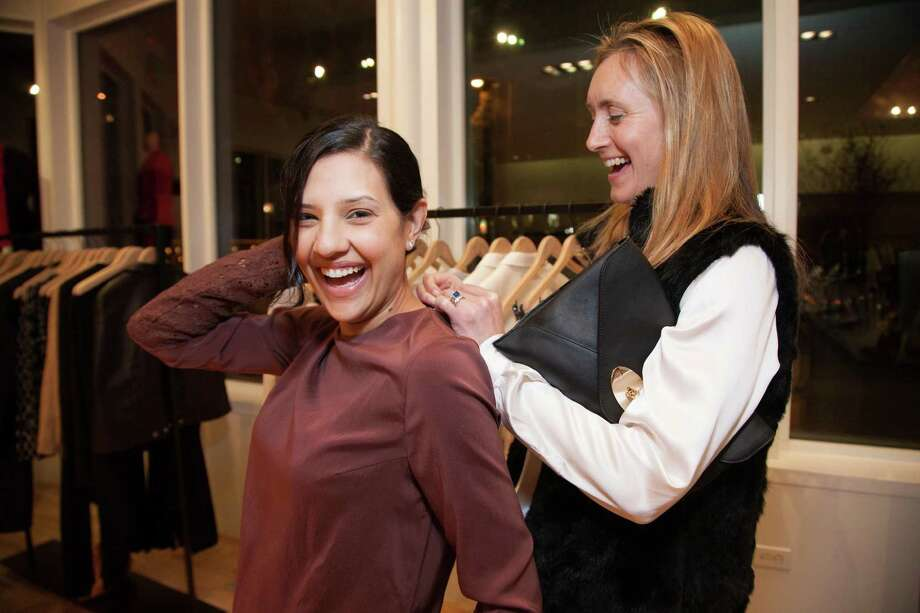 Megha Tolia and Louise Armour at the Rona Pfeiffer Trunk Show at Curve in San Francisco on February 11, 2014. Photo: Drew Altizer, Drew Altizer Photography