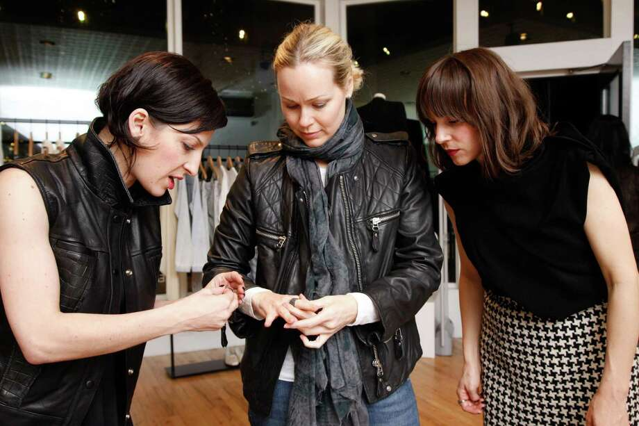 Nevena Borissova, Carrie Gretsch and Shannon Gretsch at the Rona Pfeiffer Trunk Show at Curve in San Francisco on February 11, 2014. Photo: Drew Altizer, Drew Altizer Photography