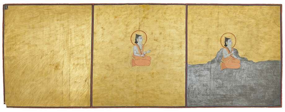 """Three Aspects of the Absolute"" from the Nath Charit manuscript in ""Yoga: The Art of Transformation"" at the Asian Art Museum. Photo: Courtesy Of The Mehrangarh Museu"
