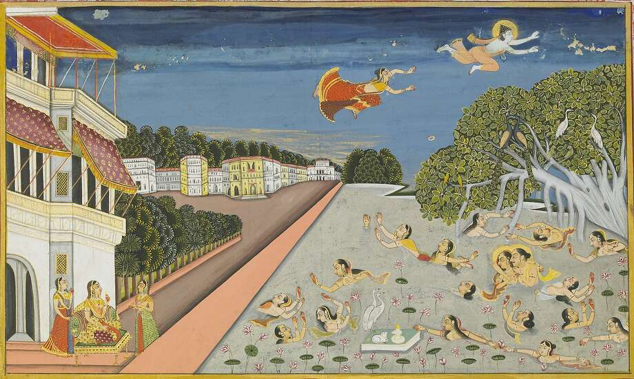 """Jallandharnath Flies Over King Padam's Palace"" (1830), opaque watercolor and gold on paper by Amardas Bhatti, an ancestor of the Rathore Dynasty. It is taken from ""Suraj Prakash,"" a collection of verses. Photo: Mehrangarh Museum Trust"