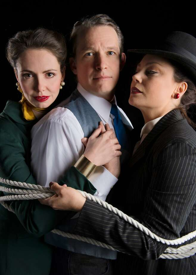 "Liza Sklar as Amazon, Nicholas Rose as Inventor and Jessa Brie Moreno as Wife in Marin Theatre Company's ""Lasso of Truth."" Photo: Kevin Berne"