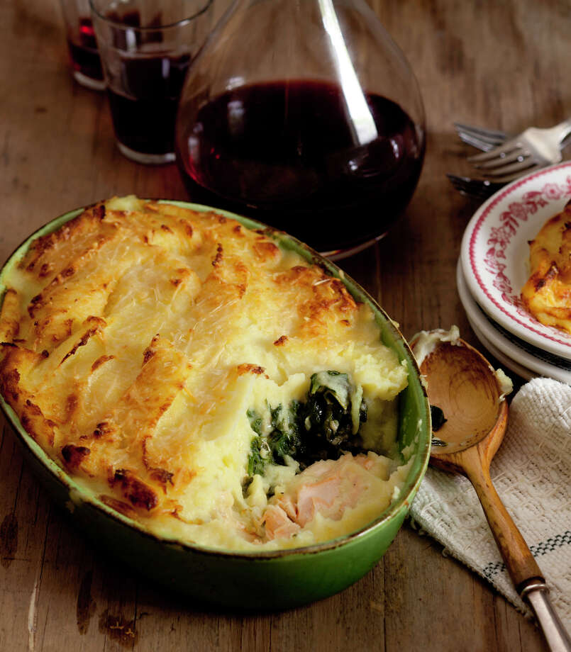 "Chef Leticia Moreinos Schwartz, a native of Rio de Janeiro who now lives in Connecticut, will be at Stew Leonard's in Danbury on Saturday, Feb. 22. Here is a photo of Spinach and Salmon Shepherd's Pie from her new cookbook, ""My Rio de Janeiro: A Cookbook."" Photo: Contributed Photo / The News-Times Contributed"