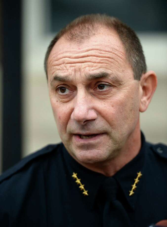 Troy Police Chief John Tedesco speaks to the media Friday morning Nov. 22, 2103, in front of the Troy Police Central Station in Troy, N.Y.      (Skip Dickstein/Times Union) Photo: SKIP DICKSTEIN / 00024771A