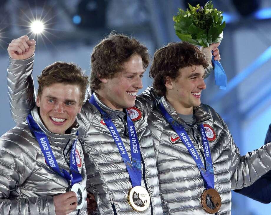 Nick Goepper(right) Medal: Bronze Discipline: Freestyle skiing Event: Men's slopestyle Photo: LOIC VENANCE, Staff / AFP