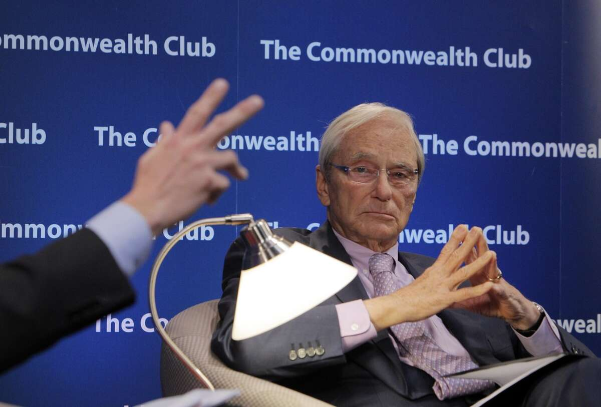 Tom Perkins, the co-founder of Kleiner Perkins Caufield and Byers, spoke with Adam Lashinsky, Senior Editor at Large, Fortune, left, at the Commonwealth Club in San Francisco, Calif., on Thursday, February 13, 2014, about his controversial letter to the Wall Street Journal about the War on the 1%.