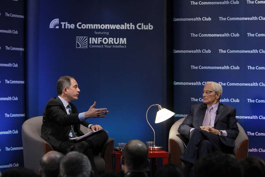 Tom Perkins, right, the co-founder of Kleiner Perkins Caufield and Byers, spoke with Adam Lashinsky, Senior Editor at Large, Fortune, at the Commonwealth Club in San Francisco, Calif., on Thursday, February 13, 2014, about his controversial letter to the Wall Street Journal about the War on the 1%. Photo: Carlos Avila Gonzalez, The Chronicle