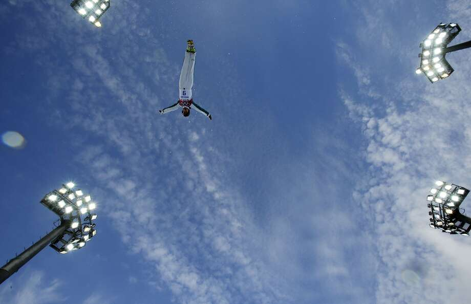 Australia's Laura Peel jumps during women's freestyle skiing aerials training at the Rosa Khutor Extreme Park, at the 2014 Winter Olympics, Friday, Feb. 14, 2014, in Krasnaya Polyana, Russia. Photo: Greg Baker, Associated Press