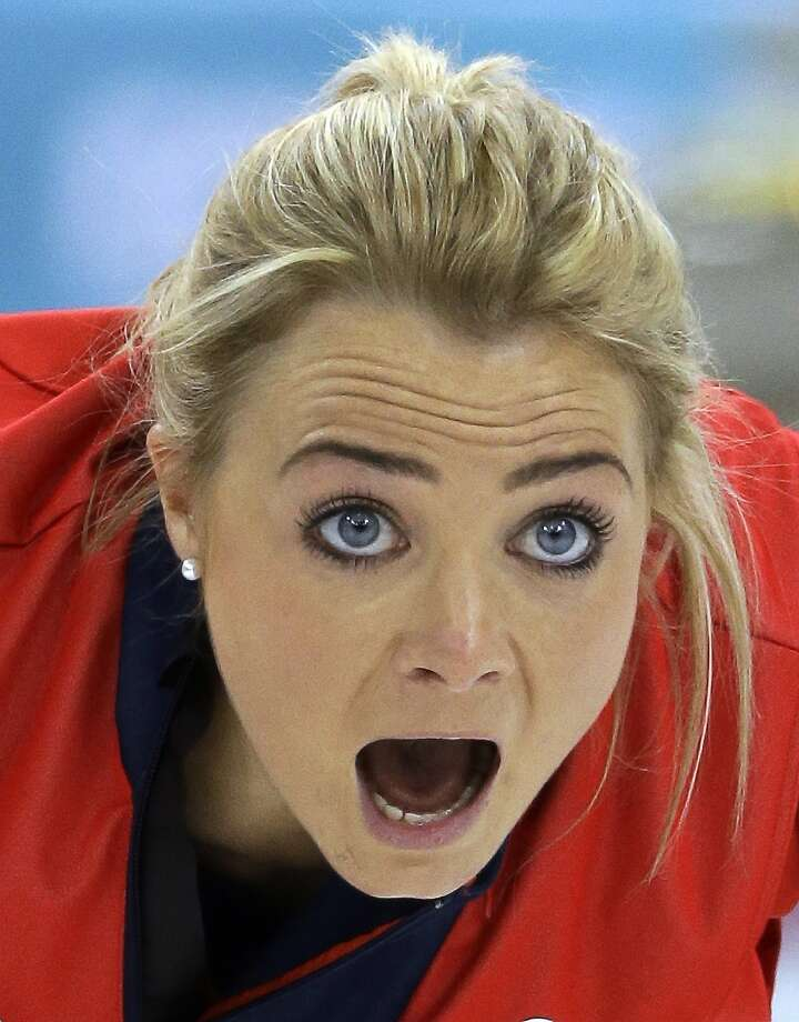 Great Britain's Anna Sloan yells to her sweepers during their round robin curling match against Japan at the 2014 Winter Olympics, Friday, Feb. 14, 2014, in Sochi, Russia. Photo: Morry Gash, Associated Press