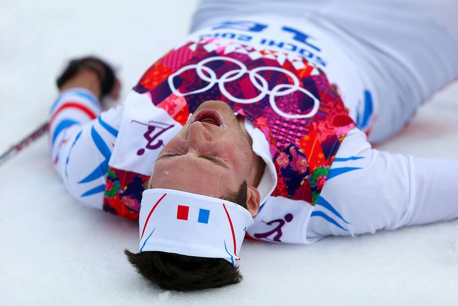 Adrien Backscheider of France reacts after competing in the Men's 15 km Classic during day seven of the Sochi 2014 Winter Olympics at Laura Cross-country Ski & Biathlon Center on February 14, 2014 in Sochi, Russia. Photo: Paul Gilham, Getty Images