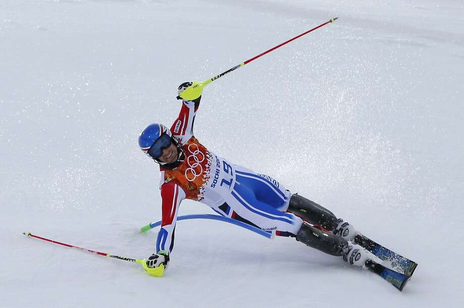 France's Blondin Thomas Mermillod falls on the slalom course during the men's supercombined at the Sochi 2014 Winter Olympics, Friday, Feb. 14, 2014, in Krasnaya Polyana, Russia. Photo: Christophe Ena, Associated Press