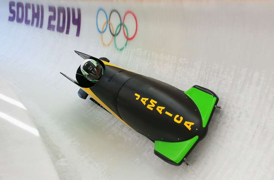 Winston Watts of Jamaica pilots a run during a Men's Two-Man Bobsleigh training session on day 7 of the Sochi 2014 Winter Olympics at the Sanki Sliding Center on February 14, 2014 in Sochi, Russia. Photo: Alex Livesey, Getty Images