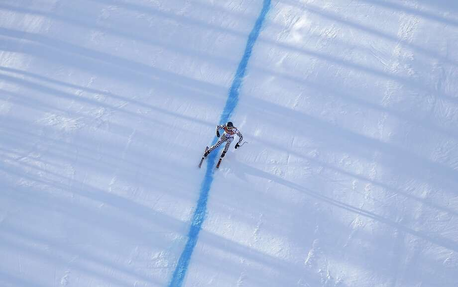 Argentina's Cristian Javier Simari Birkner nears the finish in the downhill portion of the men's supercombined at the Sochi 2014 Winter Olympics, Friday, Feb. 14, 2014, in Krasnaya Polyana, Russia. Photo: Gero Breloer, Associated Press