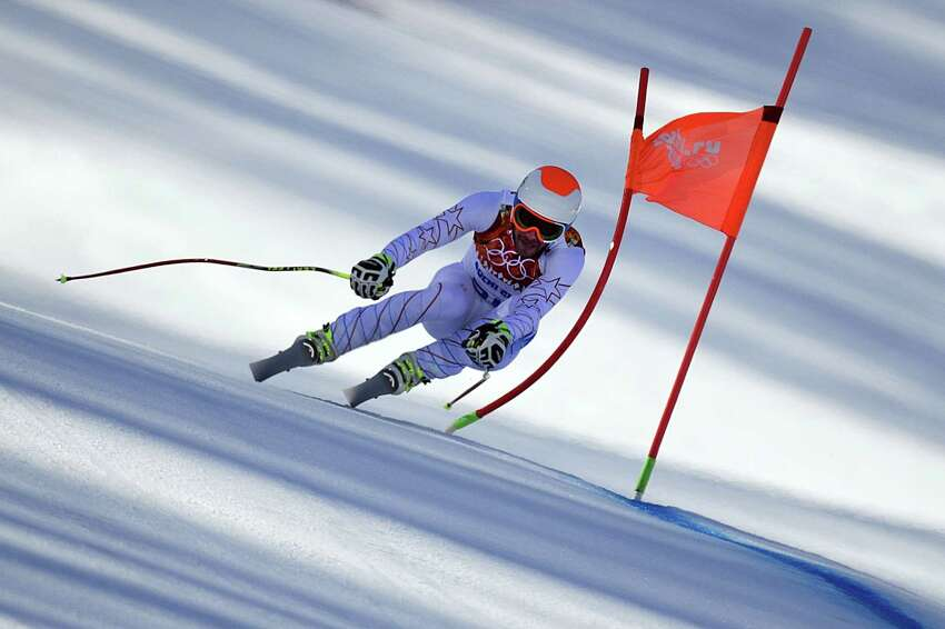 US skier Bode Miller competes during the Men's Alpine Skiing Super Combined Downhill at the Rosa Khutor Alpine Center during the Sochi Winter Olympics on February 14, 2014.