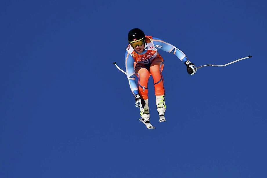 Norway's Kjetil Jansrud competes during the Men's Alpine Skiing Super Combined Downhill at the Rosa Khutor Alpine Center during the Sochi Winter Olympics on February 14, 2014. Photo: FABRICE COFFRINI, AFP/Getty Images / 2014 AFP