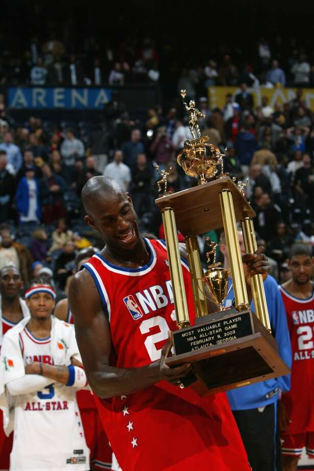 2003 - Kevin Garnett West 155, East 145 (2 OT) Atlanta 37 points, 9 rebounds, 5 steals, 3 assists and 1 block Photo: Jamie Squire, Getty Images