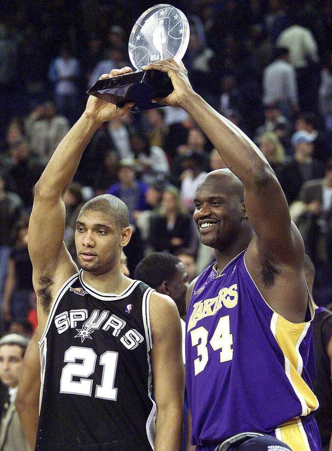 2000 - Tim Duncan and Shaquille O'Neal West 137, East 126 Oakland Duncan - 24 points, 14 rebounds, 4 assists, 1 block and 1 steal O'Neal - 22 points, 9 rebounds, 3 assists and 3 blocks Photo: JOHN MABANGLO, AFP/Getty Images