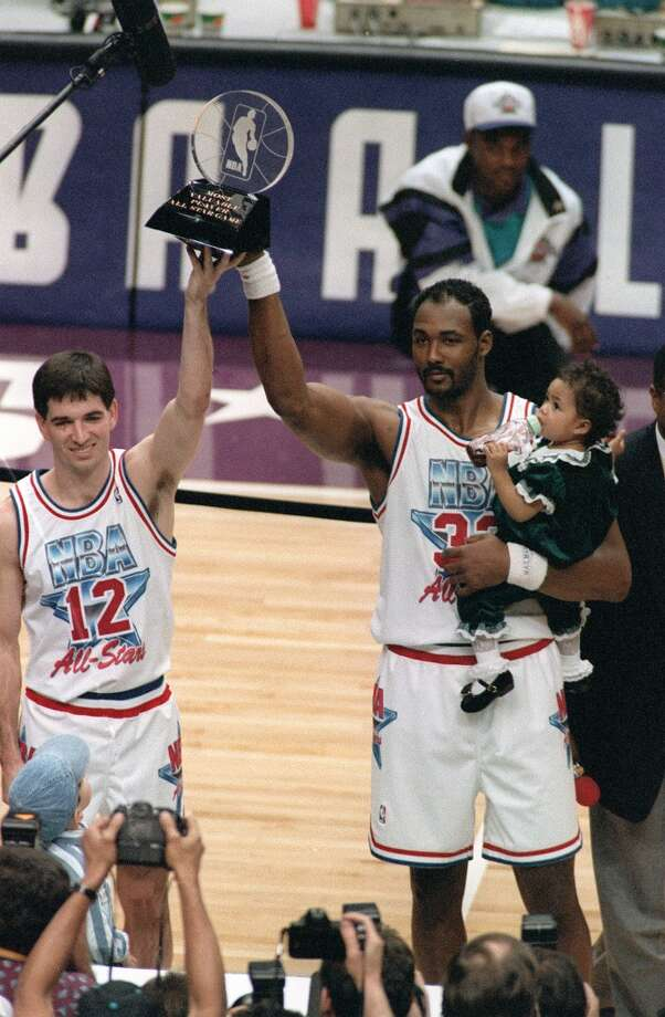 1993 - Karl Malone and John Stockton West 135, East 132 (OT) Salt Lake City Malone - 28 points, 10 rebounds, 2 blocks and 1 steal Stockton - 9 points, 15 assists, 6 rebounds and 2 steals Photo: ROBERTO BOREA
