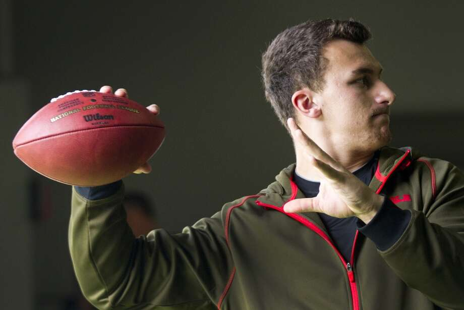 Johnny Manziel throws a pass while working out in preparation for the NFL draft. Photo: Brett Coomer, Houston Chronicle