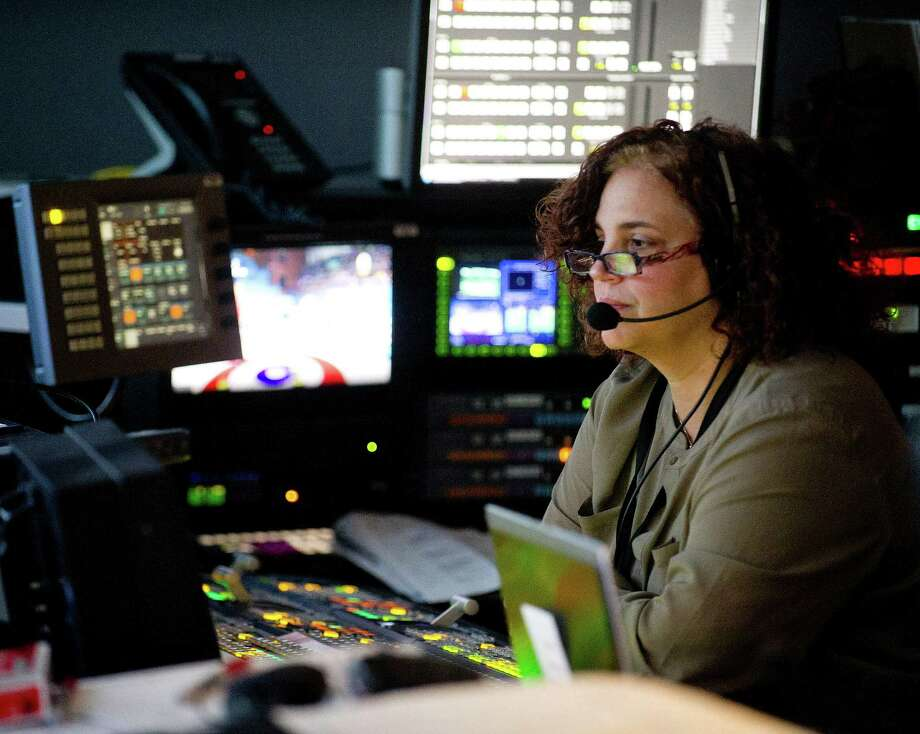 Technical Director Xris Pastore work at NBC in Stamford, Conn., on Thursday, February 13, 2014. Photo: Lindsay Perry / Stamford Advocate
