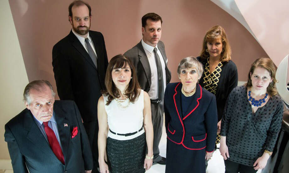 """The Governor's Son,"" by local playwright Jim Gordon, will be staged by the Townhouse Players of New Canaan, beginning Feb. 21, 2014, at the Powerhouse Performing Arts Center at Waveny Park in New Canaan, Conn. The cast includes, back row, from left, Kyle Runestad, Frank Speranzo and Leighanne Champion; front row, from left, Larry Greeley, Kimberley Lowden, Davina Porter and Kristin Gagliardi. The show will run through March 8, 2014. For more information, call 203-966-7371 or visit www.tpnc.org.  Contributed photo/Kevin McNair Photo: Contributed Photo / Stamford Advocate Contributed"