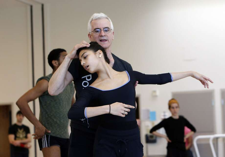 Dancer and choreographer Val Caniparoli works with Corps de Ballet member Isabella DeVivo at a San Francisco Ballet rehearsal. Photo: Carlos Avila Gonzalez, The Chronicle