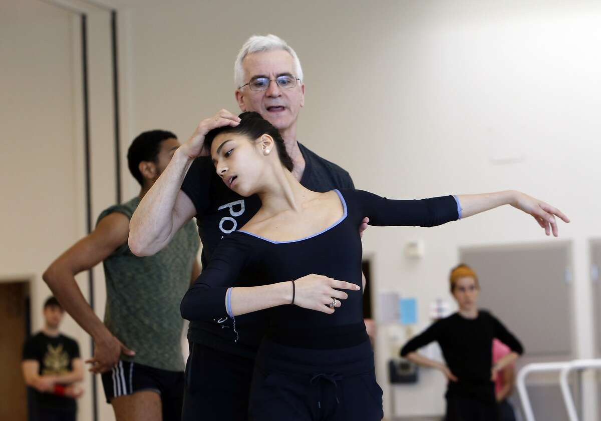 Val Caniparoli works with Corps de Ballet Member Isabella DeVivo, as Caniparoli leads a rehearsal of his TEARS at the San Francisco Ballet on Friday, January 31, 2014, in San Francisco. Calif. Caniparoli, who started his career with the SF Ballet, is one of the most prolific ballet choreographers in the country.