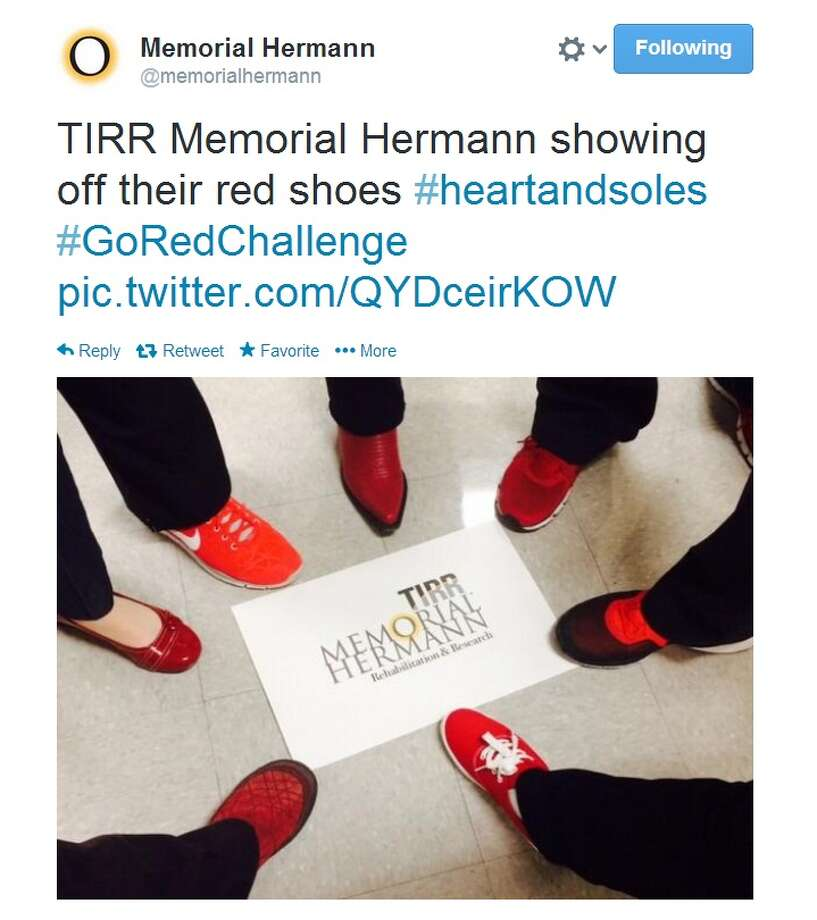 "Houstonians Put Their Best Feet Forward for National Wear Red Day® with Memorial Hermann Heart & Vascular Institute's ""Heart & Soles"" Photo: Memorial Hermann"