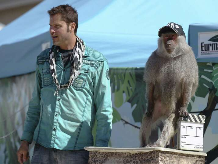 Kevin Keith  and Dagney, a baboon, perform during the Wild About Monkeys show in the Family Fair are