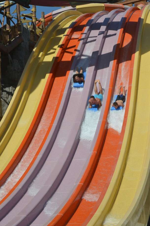 The Wahoo Racer will be the largest milti-rider racing ride in the world. It opens at Six Flags hurricane Harbor in Arlington on Memorial Day. Photo: Six Flags/Hurricane Harbor