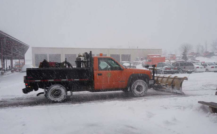 The snow storms are starting to add up, and have Public Works officials keeping a close eye on the salt supply. Photo: Genevieve Reilly / Fairfield Citizen