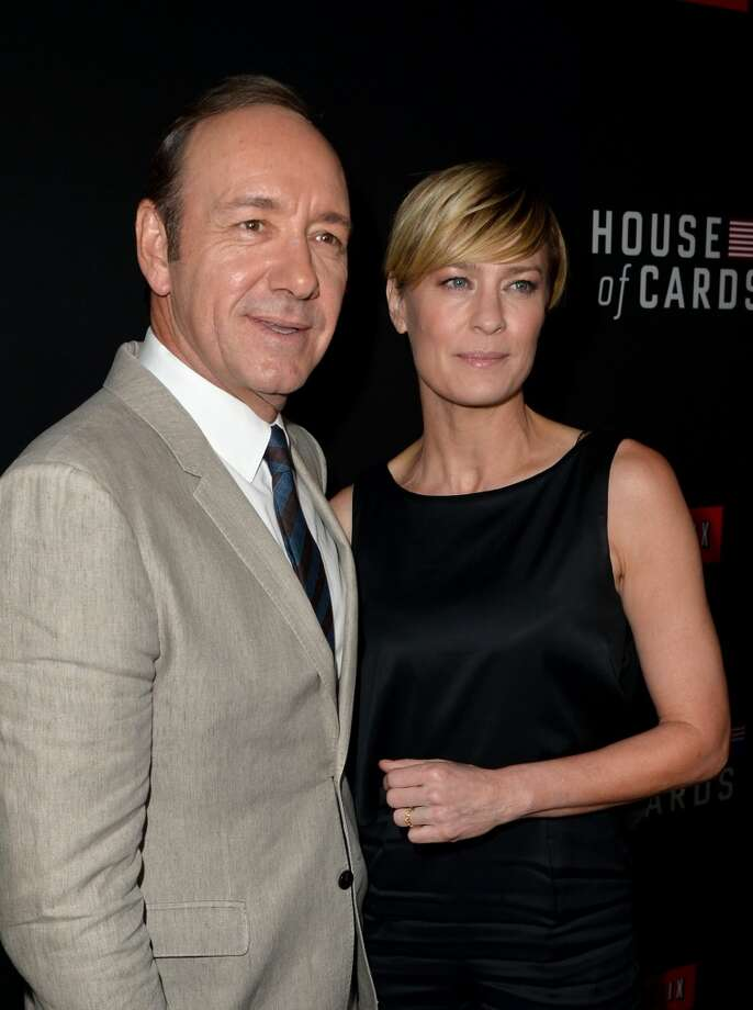 "Executive producer/actor Kevin Spacey (L) and actress Robin Wright arrive at the special screening of Netflix's ""House of Cards"" Season 2 at the Directors Guild Of America on February 13, 2014 in Los Angeles, California. Photo: Kevin Winter, Getty Images"