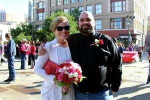 Couples got married at the Bexar County Courthouse on Valentine's Day, Feb. 14, 2014.