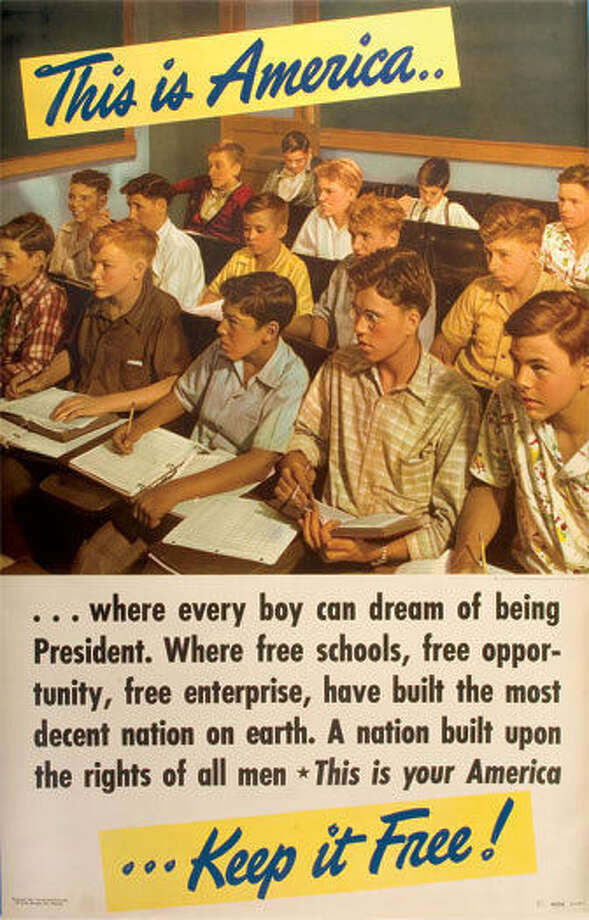"There isn't a person of color in sight in this poster titled ""Where Every Boy Can Dream of Being President."" Photo: Courtesy Photo"
