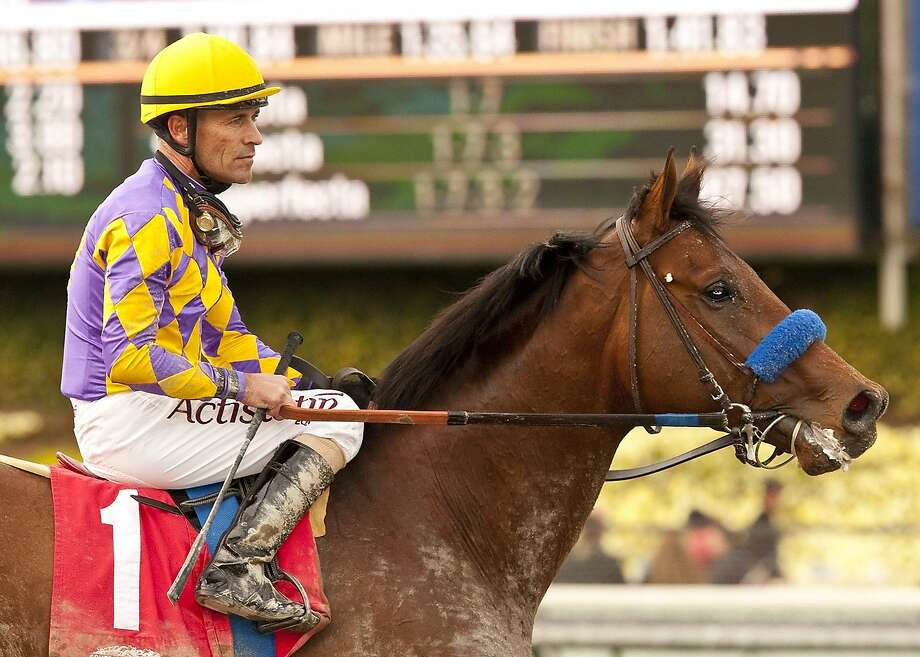 Gary Stevens guides Candy Boy to the winner's circle last Saturday after the Robert B. Lewis Stakes at Santa Anita. Photo: Associated Press