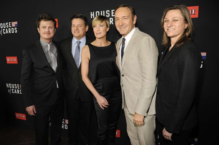 "Writer Beau Willimon,  from left, Netflix's Ted Sarandos, actress Robin Wright, actor Kevin Spacey and Netflix's Cindy Holland, arrive at a special screening for season 2 of ""House of Cards"", on Thursday, Feb. 13, 2014 in Los Angeles. Photo: Chris Pizzello, Associated Press"