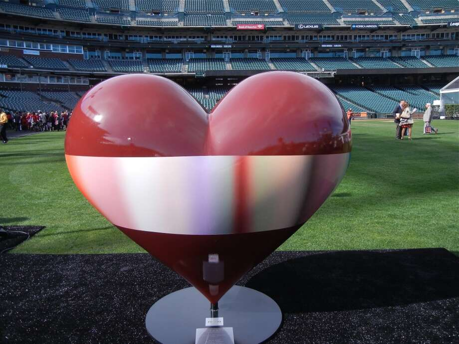 "Large-scale hearts were auctioned off to raise funds for the Foundation. Here is ""Open Heart"" by artist Patrick Dintino. Photo: Catherine Bigelow"