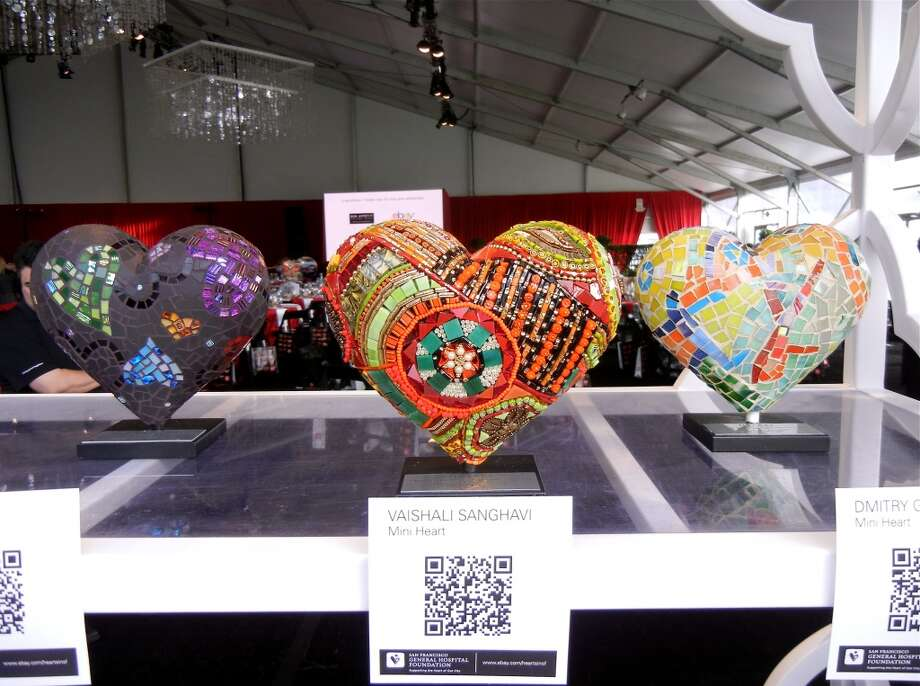 Table-top hearts crafted from mosaics and sold via eBay were a new addition for this year's Heroes & Hearts fundraiser. Photo: Catherine Bigelow