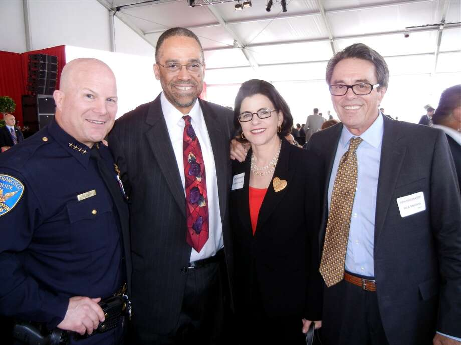 SFPD Chief Greg Suhr (at left) with SF General Trauma surgeon, Dr. Andre Campell, Katherine Feinstein and her husband, Rick Mariano. Photo: Catherine Bigelow