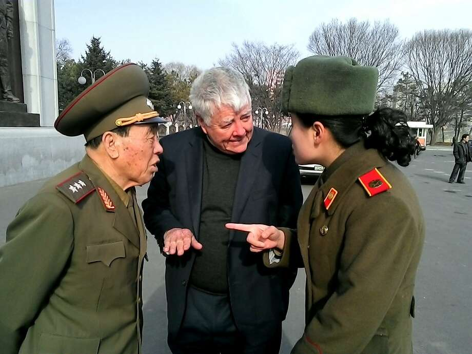 Former Congressman and Korean War hero Pete McCloskey meets with a three-star North Korean general. Photo: Courtesy Pete McCloskey