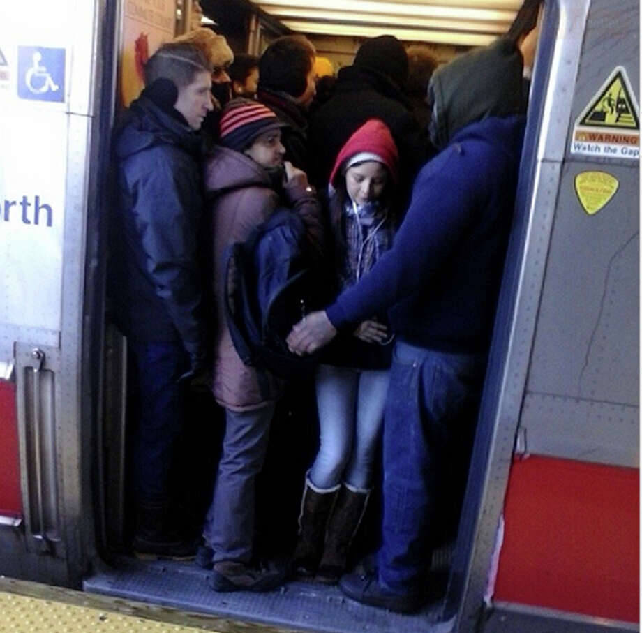 "Photo of of the morning commute on Metro-North Friday, Feb. 14, 2014 tweeted bacchanal268. ""#metronorth is packed like sardines #NewRochelle #morning #rushhour #commute"" Photo: Contributed Photo / Connecticut Post Contributed"